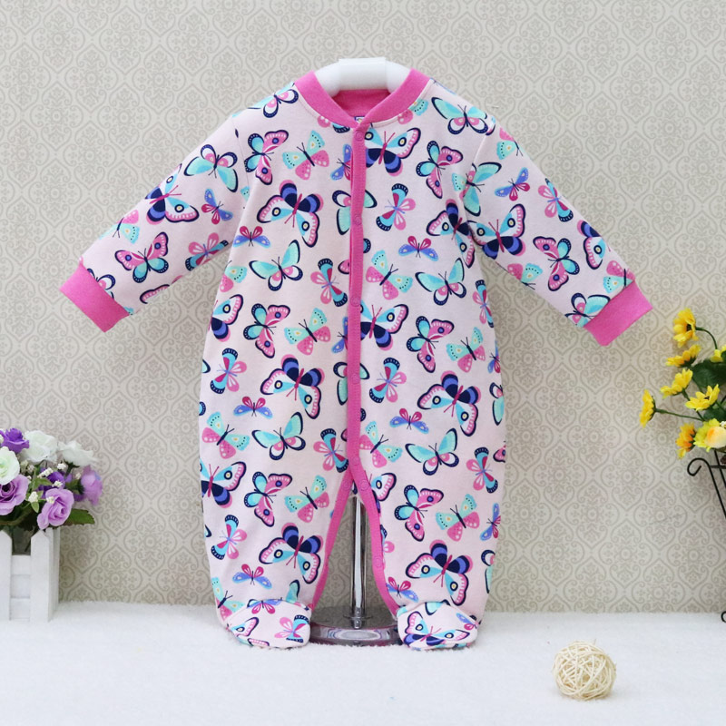 2019 Newborn Baby Girls   Rompers   Long Sleeve Pure Cotton One Piece Overalls Button Sleepwear Children Clothes Cute Kids Clothing