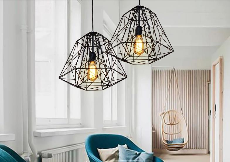 ФОТО Black Iron pendant lights Diamond-shaped industrial creative  vintage lamp bar foyer pendant lamps Nordic retro