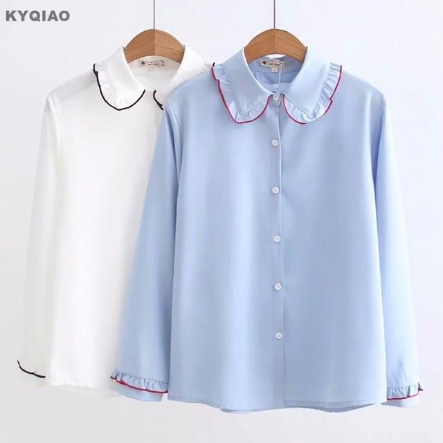 a9d8398e0 € 12.12 29% de DESCUENTO KYQIAO Lolita 2019 mori niñas otoño japonés  uniforme de la escuela lindo collar de peter pan Dulce azul sólido blanco  ...