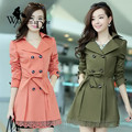WomensDate New Fashion Autumn Winter Long Overcoat For Lace Waistband Slim Trench Coat Fashion Windbreaker Women's Trench Coat