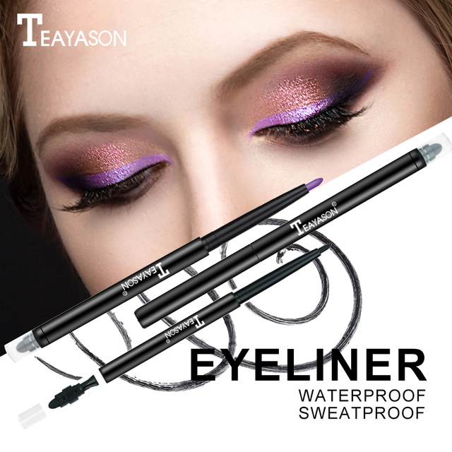 Teayason dual ended eyeliner pencil with sponge 12 color gold glitter eye liner waterproof long lasting matte eyeliner gel AM068 4