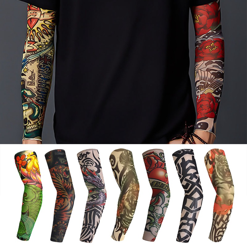 1 PIECE Elastic Arm Sleeves Temporary 3D Tattoo Sleeve Body Arm Stockings Sleevelet Cool Body Art Arm Warmers Men Women