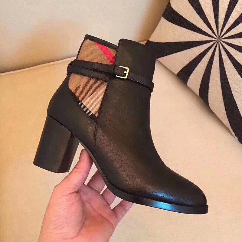Femminile plaid scarpe da donna in pelle di moda sexy stivali