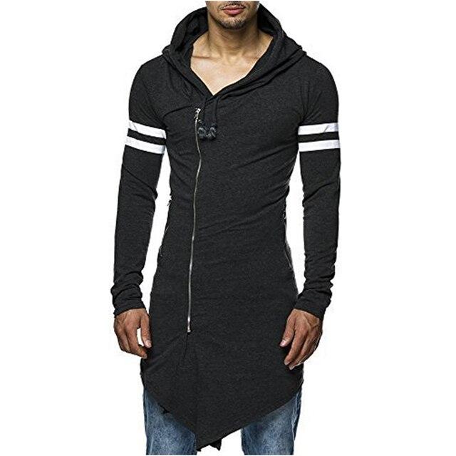 45741e155f1 New Arrival Fashion Men s Long Black Asymmetry Zipper Hooded T shirt Men s  With Side Zip Longline