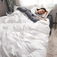 Bedding Set Cotton White and Gray Color Queen King Size Duvet Cover Sheet with Pillowcase Single Beddings and Bed Sets