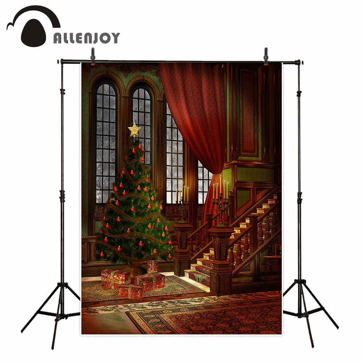 Allenjoy photography backdrop Christmas tree vintage window stair background photobooth original design portrait shooting allenjoy christmas backdrop tree gift chandelier fireplace cute professional background backdrop for photo studio