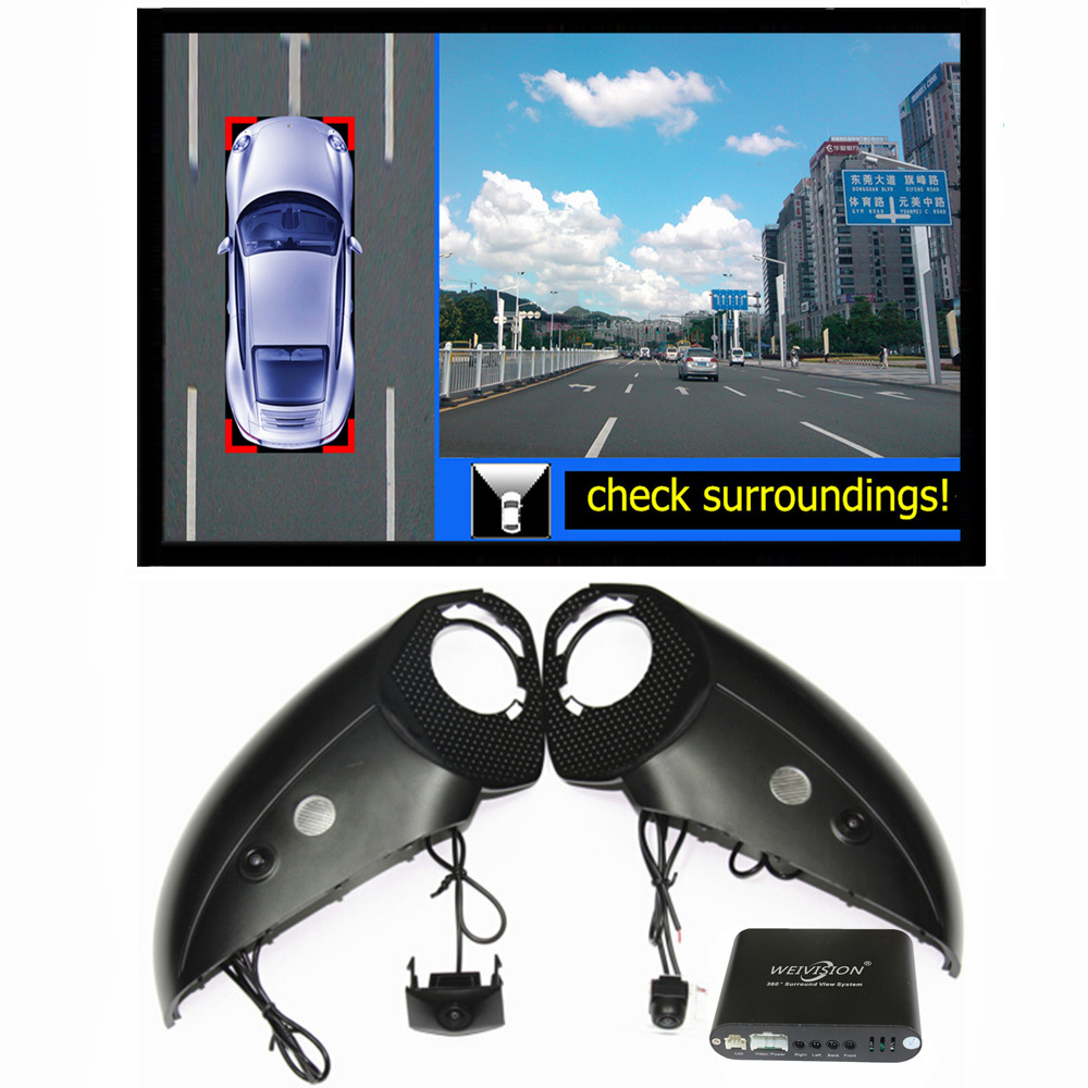 цена 360 Degree bird View Car DVR Record with parking Monitor System, All round rear View Camera for Audi Q5 Q7 Q3 A6L A4L