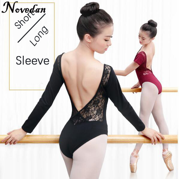 d08b9b810b Adult Women Ballet Dance Dancewear Gymnastics Leotard Mesh Lace Tutu Costume  Short   Long Sleeve Black Bodysuit