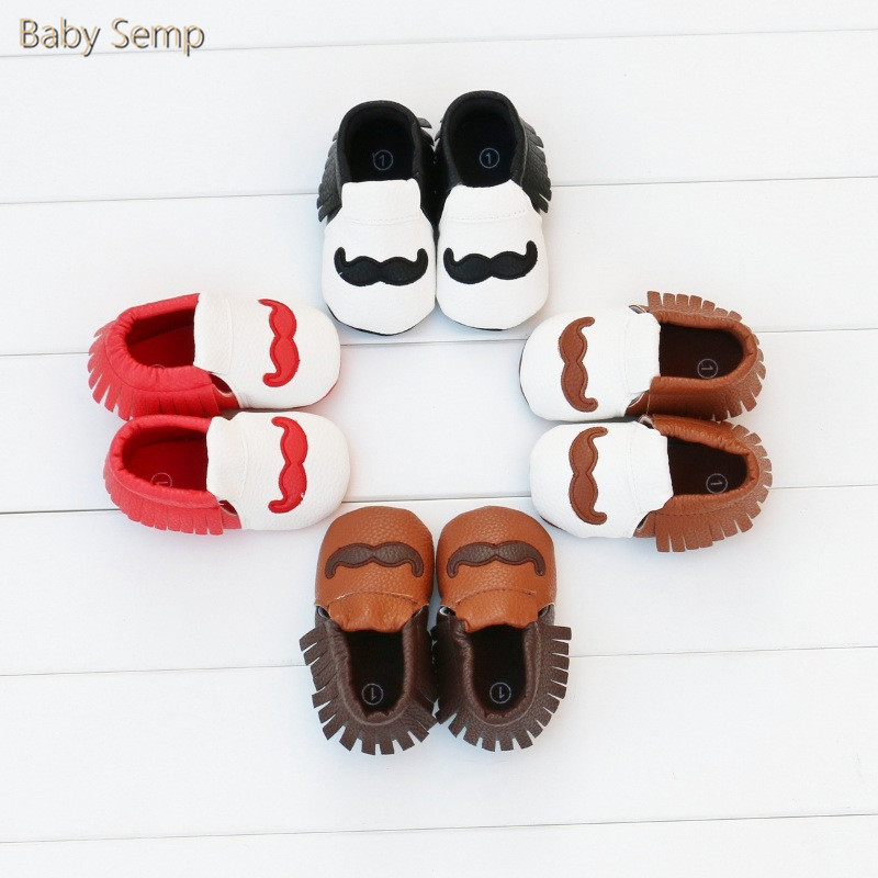 0 1 Year Baby Girl Designers Shoes Moustache Baby Moccasin Shoes Rubber Sole Sayoyo PU Leather