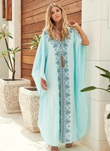 Embroidery Cotton Beach Kaftan Cover up Saida de Praia Swimsuit Bikini cover Tunics for Pareo Sarong Beachwear