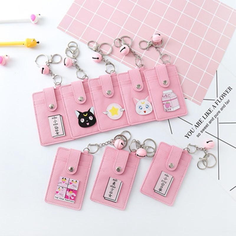 Kawaii Pink Sailor Moon PU Leather Card ID Holders Bag Women Travel Bank Bus Credit Card Holder Keyring Key Wallet Chain Case