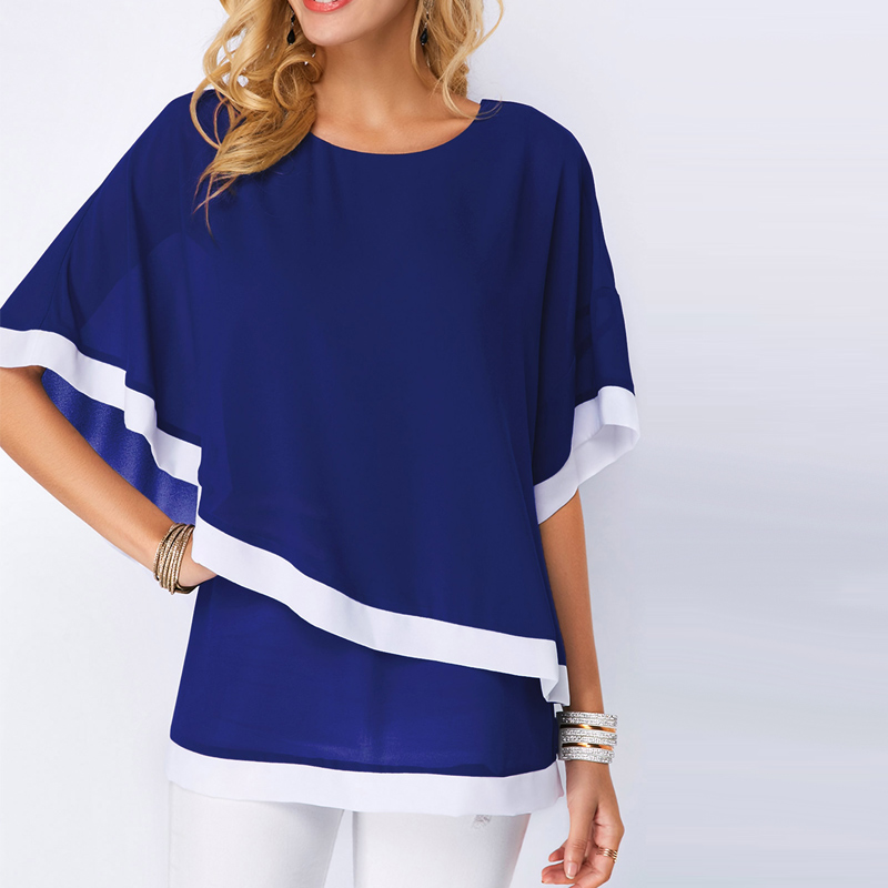 Chiffon Blouse Casual Patchwork Irregular Shirt <font><b>Sexy</b></font> Batwing O Neck Summer Women Blouse Tops Oversized <font><b>5XL</b></font> Blusas <font><b>Mujer</b></font> NEW 2019 image