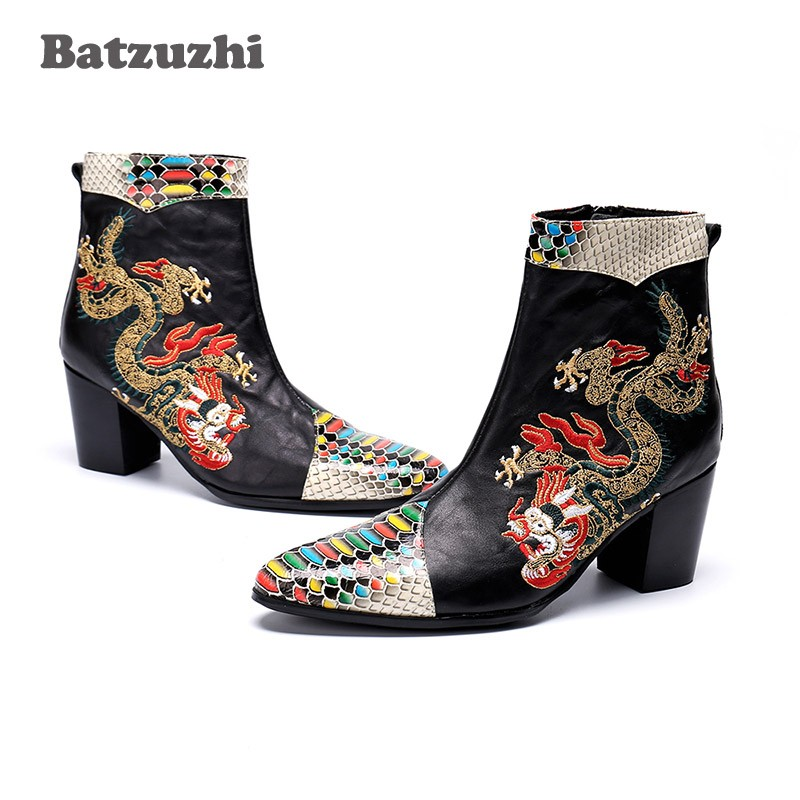 97d68361f Batzuzhi Italian Type Men Boots Pointed Toe Designer's Leather Boots Ankle  Zip 7CM High Heel Party. sku: 32962216656