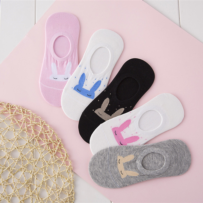 1Pair New Fashion Cute harajuku animal   socks   women summer korean Lovely rabbit funny low cut Girls Ankle   sock   happy sox Dropship