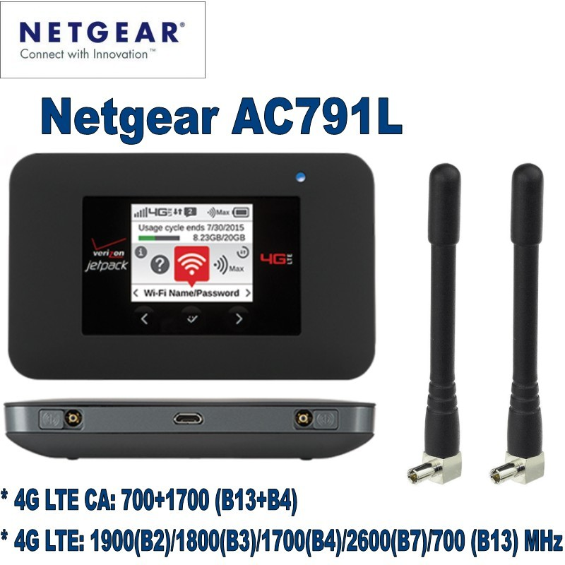 Netgear AC791L Verizon Jetpack 4G LTE Mobile Hotspot plus 2pcs antenna netgear ac791l verizon wireless 4g lte mobile hotspot
