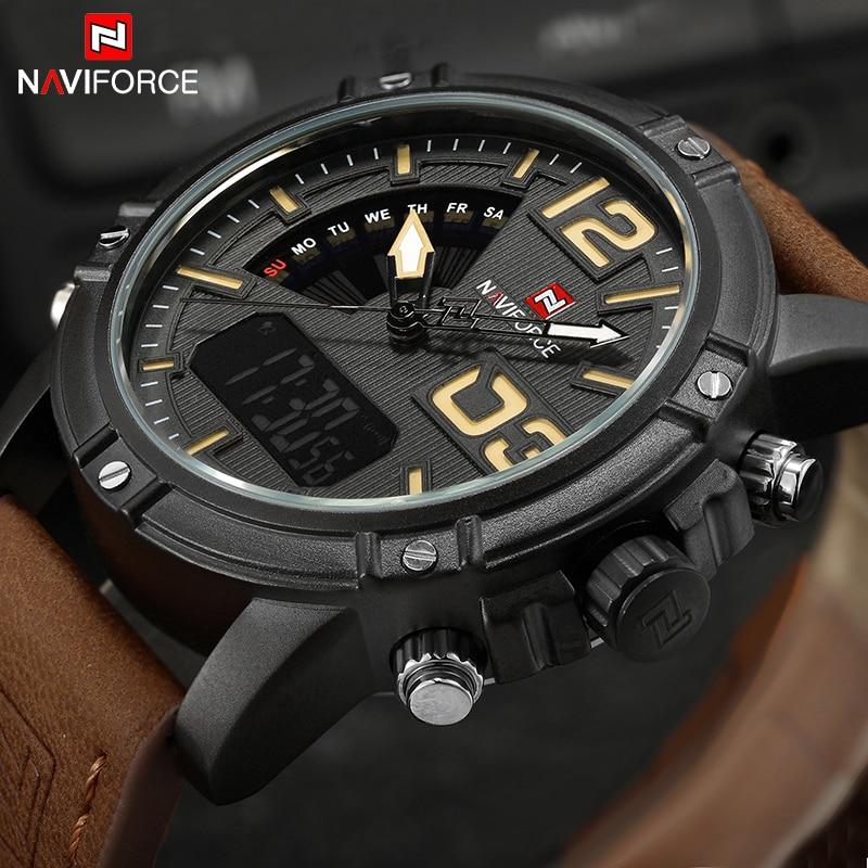 NAVIFORCE Luxury Brand Men's Sport Watches Men Dual Display LED Digital Waterproof Leather Strap Quartz Military Watch Man Clock