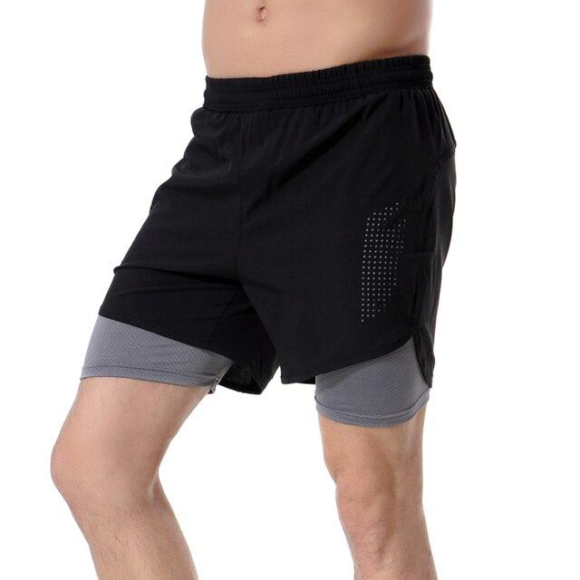 ef52f8df7a3d € 11.76 32% de DESCUENTO|Atletismo maratón deporte hombres pantalones  cortos de compresión medias gimnasio pantalones cortos de doble capa seca  ...