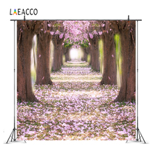 Laeacco Spring Flowers Forest Trees Petal Scenic Photography Backgrounds Customized Photographic Backdrops For Photo Studio