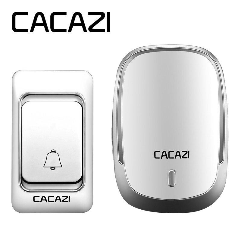 CACAZI Haute Qualité Sans Fil Sonnette De La Porte 315 MHz DC batterie-exploité sonnette 200 M à distance 36 anneaux 25-80db porte carillon