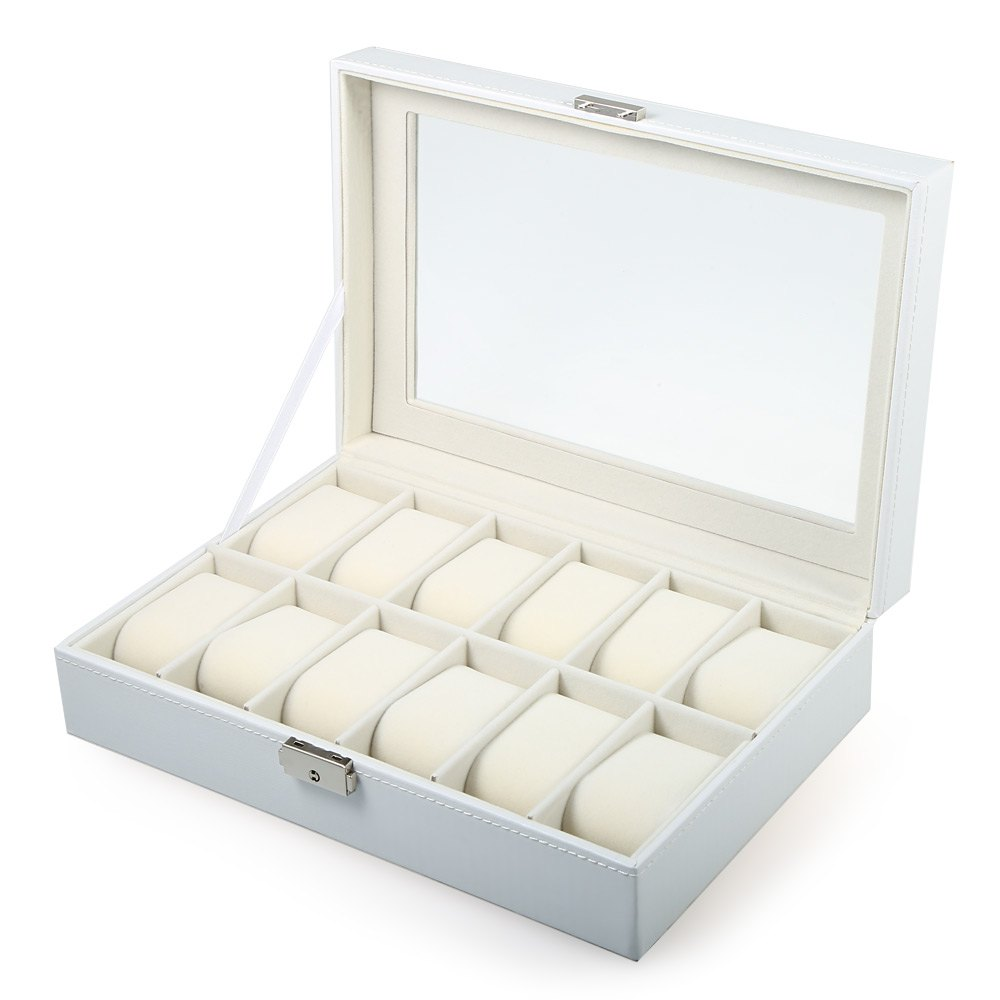New Arrive 12 Grids White PVC Leather Watch Case Jewelry Display Box Gift Watch Box caixa