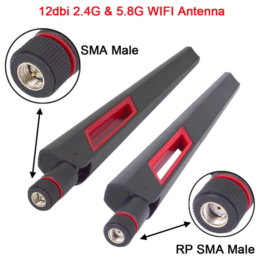 2PCS 12 Dbi Dual Band WIFI Antenna 2.4G 5G 5.8Gh RP SMA Male Universal Antennas Amplifier WLAN Router Antenne Booster