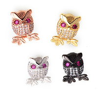 Magic Fish 10pcs/ lot Findings jewelry Beads for making charm bracelets Copper Inlaid white zircon Owl Wholesale DIY Jewelry