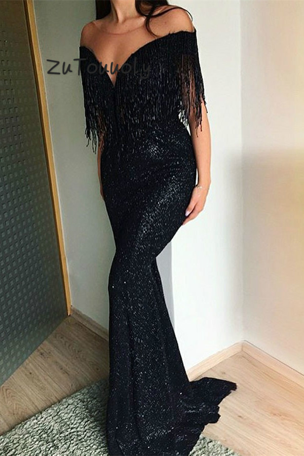 Glitter Sequins Evening Dress Black Mermaid Long Arabic Prom Gowns With Bead Tassel Chic Women Formal Party Evening Dress 2019