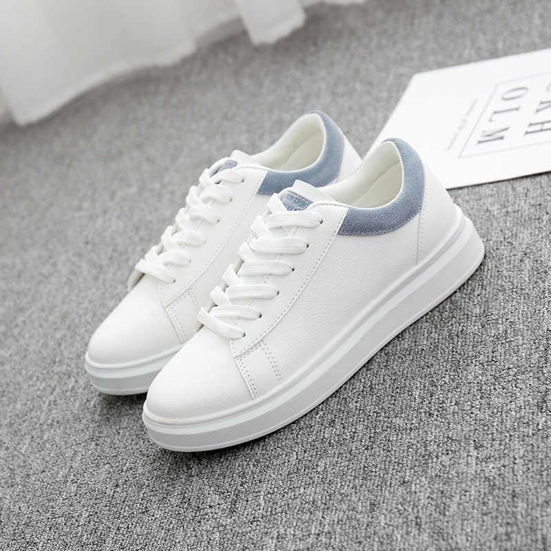 Wanita Kasual Sepatu 2018 Musim Gugur Wanita Sneakers Fashion Breathable PU Kulit Platform Wanita Kulit Putih Sepatu Lembut Footwears