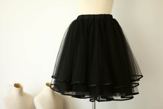 Simple Design Family Fitted Black Black Short Tulle Skirt Custom