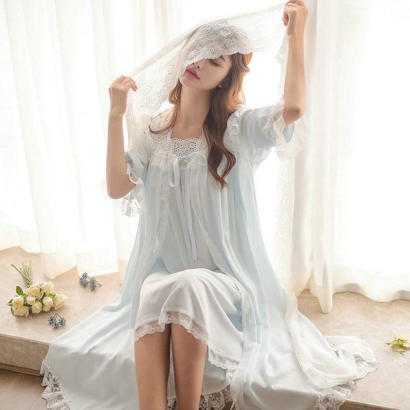 Free Shipping 2018 New Autumn Princess Nightgown Women s Long Robe and Slip Pajamas Two Pieces