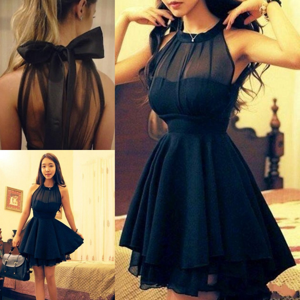 dd0f43df1eeab Black Cheap Short Bridesmaid Dresses Vestido De Festa Jewel Halter Illusion  Neckline Ruffled Chiffon Sexy Backless Party Dresses