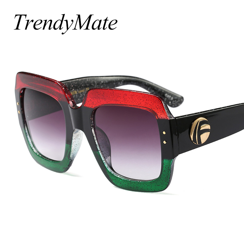 Buy Oversized Square Sunglasses Women Fashion Gradient Lens Sun Glasses For Women Brand Luxury Black Green Red Shades UV400 1159T for $6.43 in AliExpress store