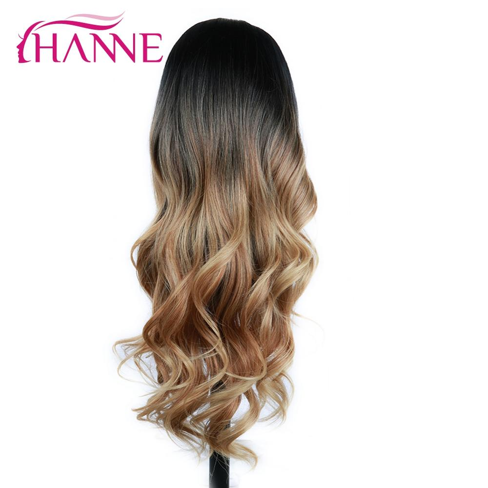 HANNE Long Wavy Synthetic Hair Wig Ombre Brown Blonde/Grey High Density Heat Resistant Wig For Black/White Women Cosplay/Party