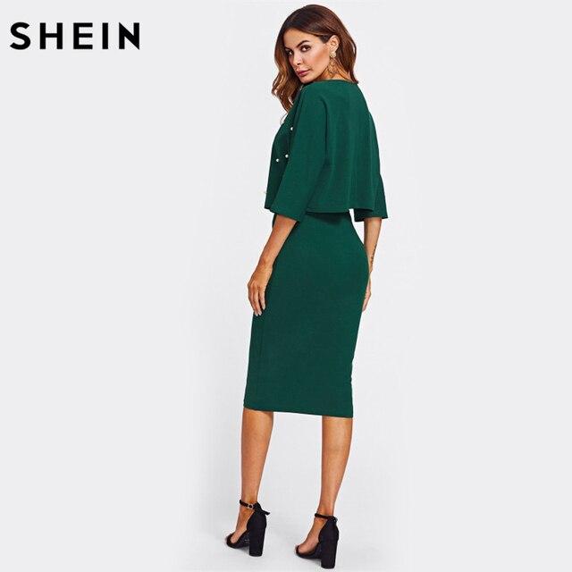 SHEIN Pearl Embellished Autumn Dress Elegant Womens Dresses Solid Green Half Sleeve Knee Length Sheath Two Piece 1