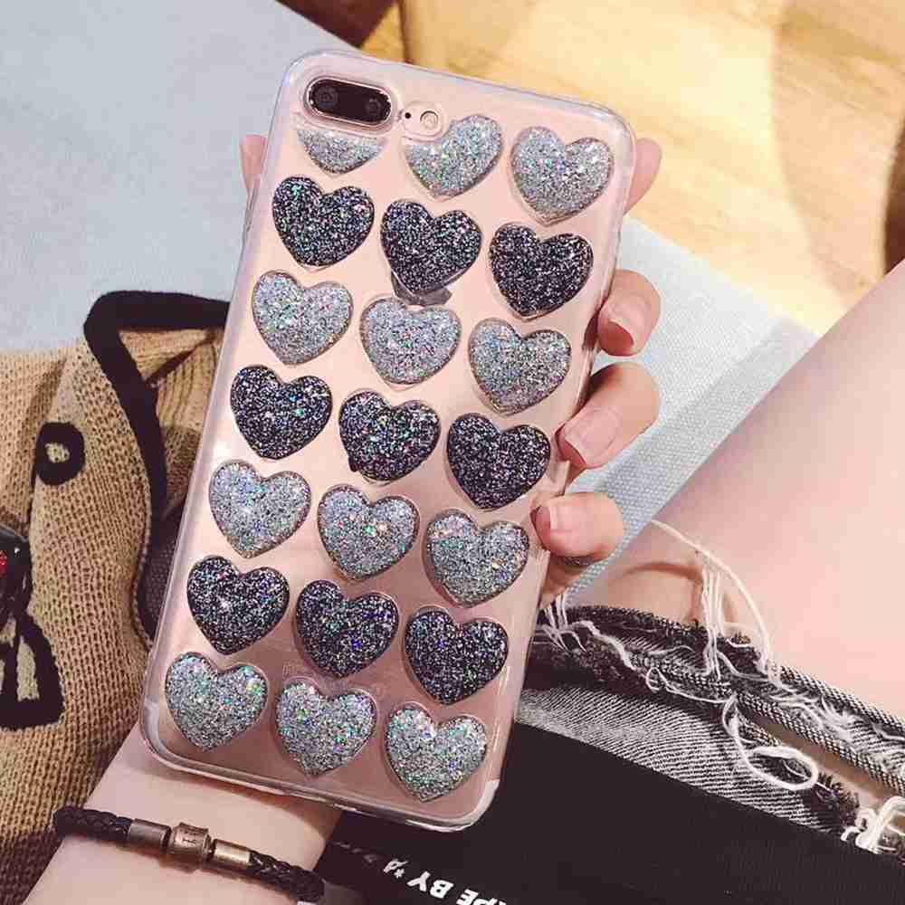 AXBETY Case For iPhone 7 Kawaii Candy Clear Cover Coque For iPhone 6S 7 8 Plus Case Sakura Pink Glitter Love Hearts 3D Cover