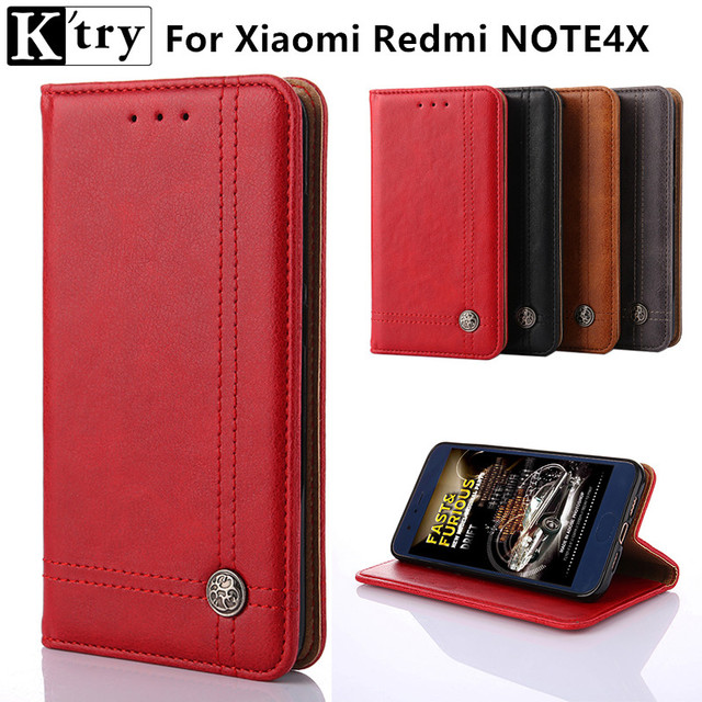 K'try Note 4X Flip Wallet PU Leather Case For Xiaomi Redmi Note 4X Cover Vintage Coque Phone Bag Cases For Redmi Note 4X