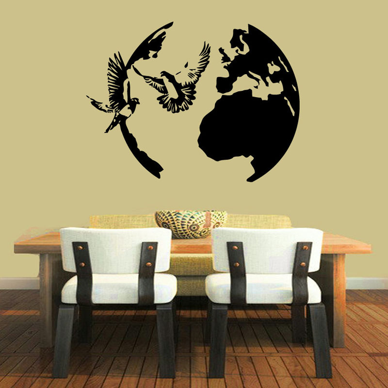 Birds Doves Flying Wall Stickers Vinyl Decals Peace Symbol Around Globe Kids Bedroom Wall Decals Decorative