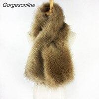 Nouvelle recherche nolvety madame faux fourrure de renard écharpe cache-cou tirer à travers infinity écharpe pour automne hiver manteau de fourrure à femmes