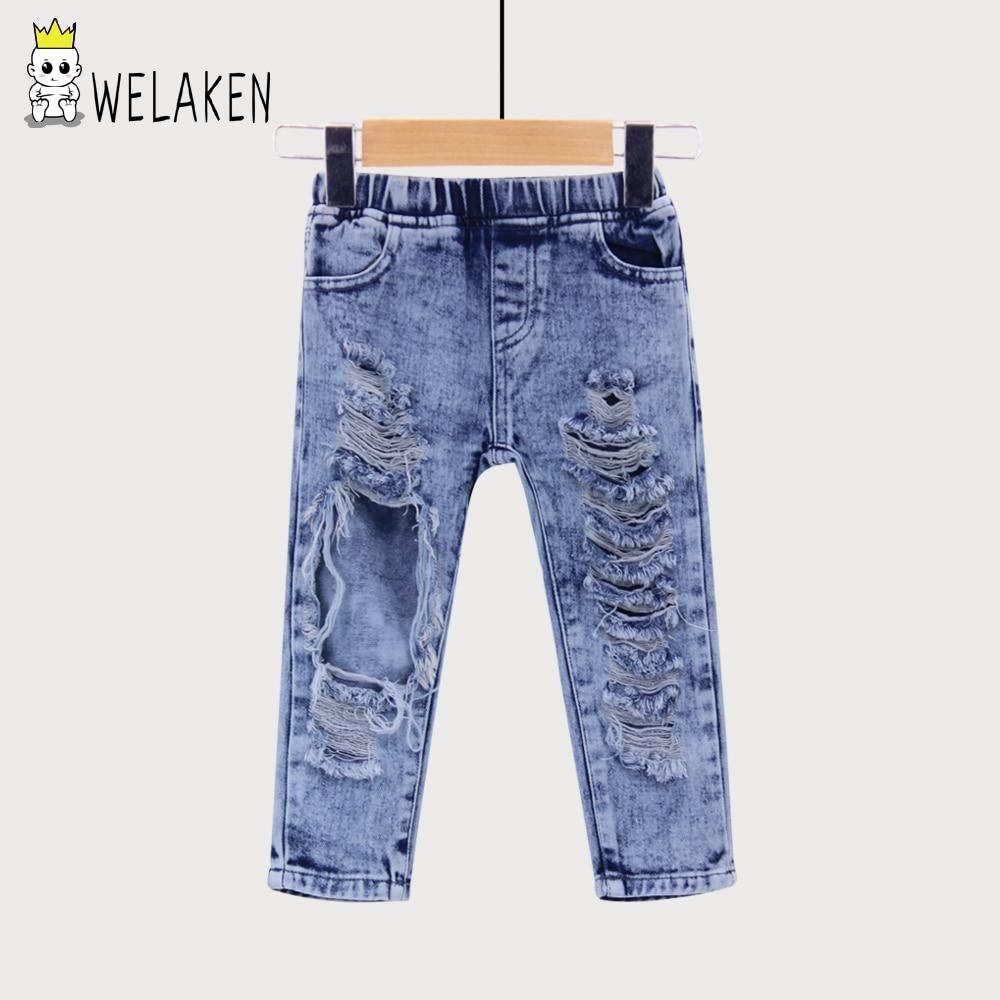 Welaken 2019 Nieuwe Mode Jongens Meisjes Grote Gat Jeans Zomer Kleding Goede Kwaliteit Kinderen Broek Kids Denim Broek Bovenkleding