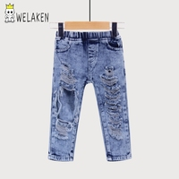 weLaken Fashion Boys Girls Big Hole Jeans Summer Apparel Good Quality Children's Trouser Kids Denim Pants Outerwear 2018 New