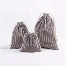 Stripe Drawstring Bags Travel Pouch Storage Clothes Handbag Cotton Women Girls Shoes Bags Makeup Bag High Quality 2018 Fashion