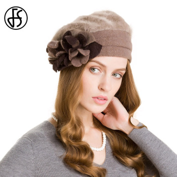 Winter Wool Fashion Khaki Women Flower Warm Caps Casual Beanies