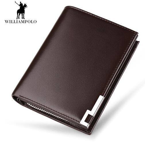 Williampolo 2018 Wallet Men 100% Italy Genuine Leather Short Wallet Vintage Cow Leather Casual Men Wallet Purse Standard Hol