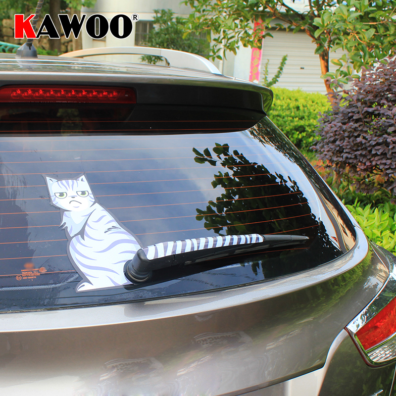 KAWOO Car Styling Creative Cartoon Cat Moving Tail Stickers Reflective Car Stickers Window Wiper Decals Rear Windshield Sticker