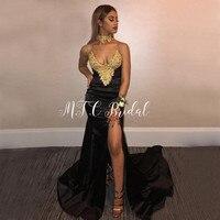 Gorgeous Black Mermaid Dresses Prom Gold Beaded Lace V Neck High Slit Elastic Satin Long Formal Evening Gowns Custom Made 2019