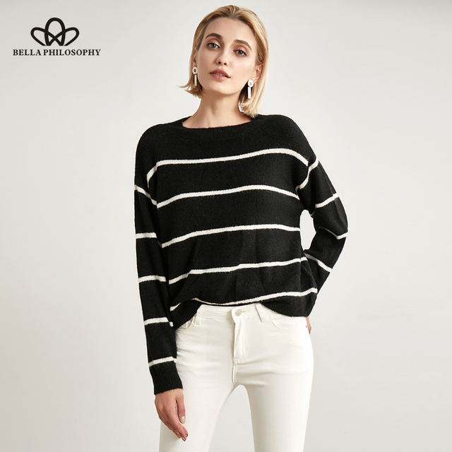 00a5addf31 Bella Philosophy Autumn Winter Women Sweater Black and White Striped Casual  Hooded long-sleeved Sweater Pullovers o neck sweater