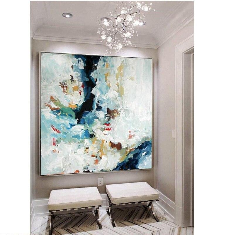 Разрисованный вручную, абстрактный художественный Большой абстрактный принт холст печать современное искусство Изобразительное искусств...
