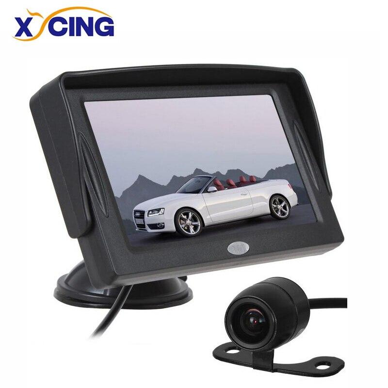 XYCING 4.3 Pouce Couleur TFT LCD Moniteur De Voiture Parking Vue Arrière Moniteur + 18mm CMOS Auto Rétroviseur De Voiture Inverse Caméra de recul