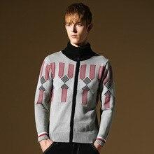 Winter Fashion Mens Wool Cardigan Sweaters New Geometric Stylish Casual Knitted Sweater Mens Cardigans 2014 Korean Sweater Men