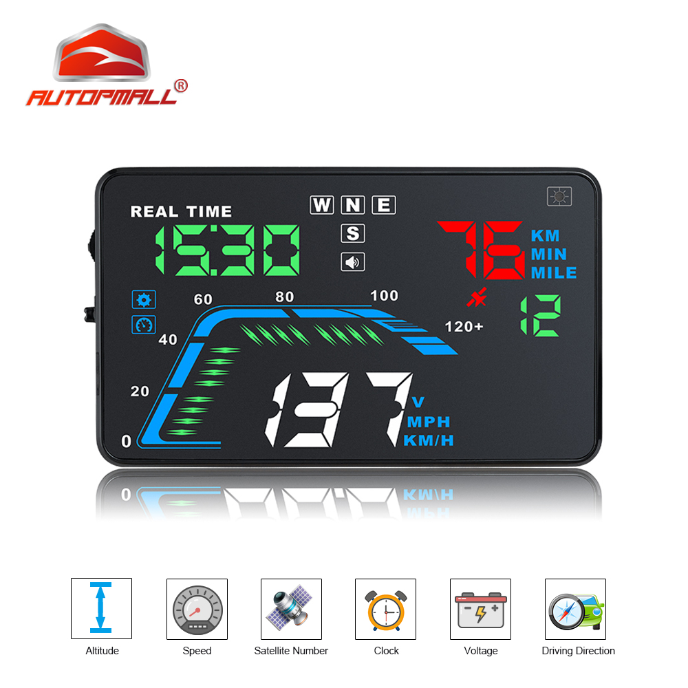 Q7 Auto Car HUD GPS Head Up Display HD 5 5 Speedometers Overspeed Multi Color Warning